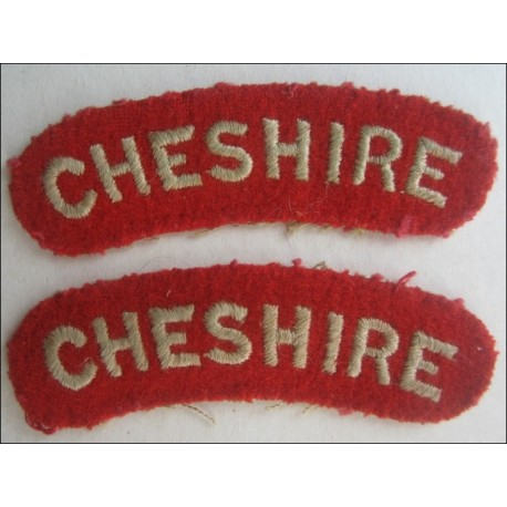 Pair of Cheshire Regiment Cloth Shoulder Title