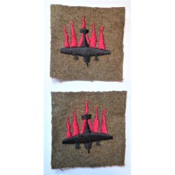 Pair 5th Anti-Aircraft Division Formation Sign Cloth Patch British Army