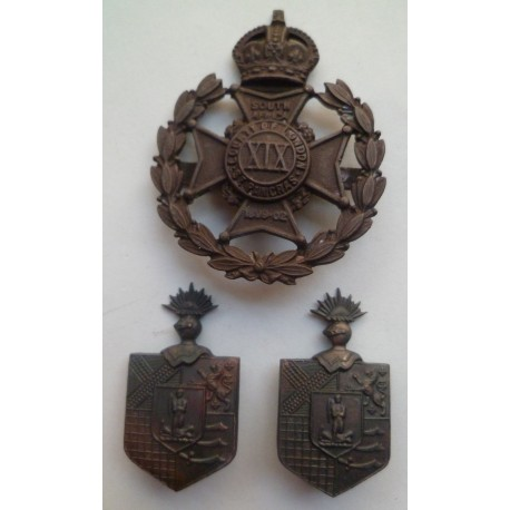 19th (County of London) Battalion, The London Regiment (St Pancras) Officers Cap Badge and Collars