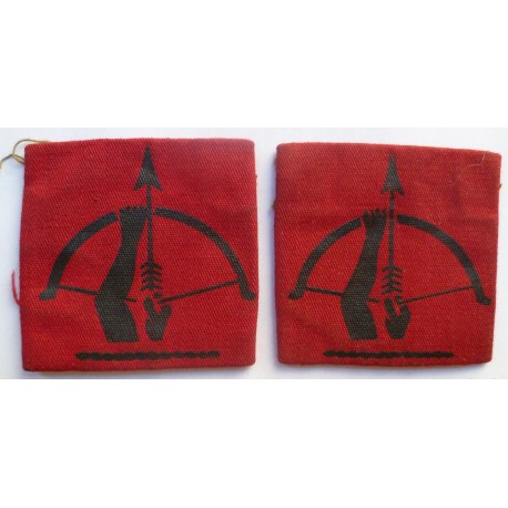 WWII Pair 2nd Anti-Aircraft Division Cloth Formation Sign British Army